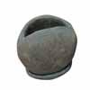 オーバル・ポット 13.5cm (受け皿付) (グリーンブラウン) (CP-JS0081GR)