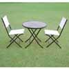 ガーデンテーブル&チェアー 3点セット (ガラス天板60cm) (折りたたみ式) (TY-80953)