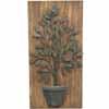 アイアン製・ウォールデコ・植物 H72cm (木板付き) (CP-YF36042)