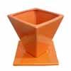 スクエアー・オレンジ 16cm (受け皿付き) (FO2-1561OR-YL)