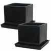 タリーズキューブ 10cm 受皿付き (2個セット) (ブラック) (MH-YL-K2730-12BK)