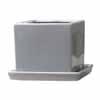 タリーズキューブ 14cm 受皿付き (ベージュグレー) (MH-YL-K2730-7GR)